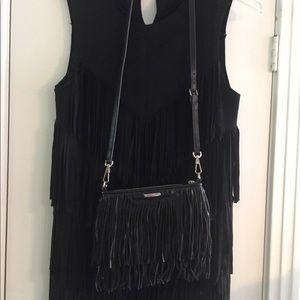 Rebecca Minkoff black leather fringe crossbody